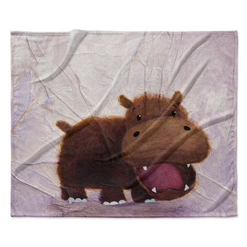 "Rachel Kokko ""The Happy Hippo"" Fleece Throw Blanket"