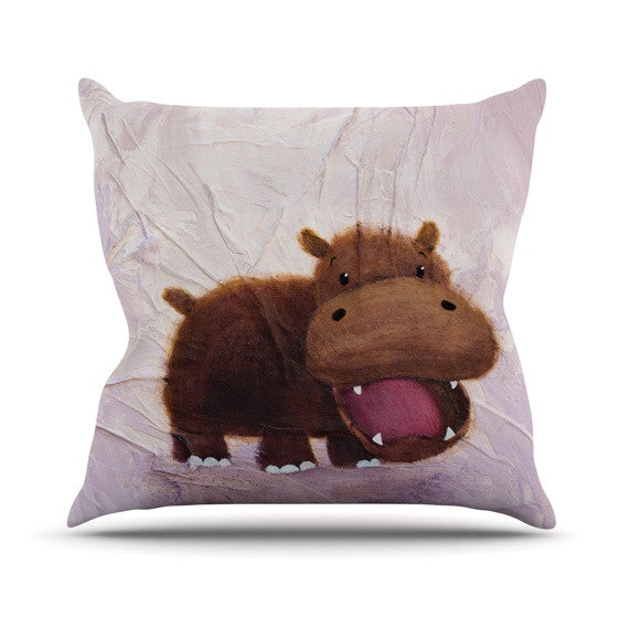 "Rachel Kokko ""The Happy Hippo"" Outdoor Throw Pillow - KESS InHouse  - 1"