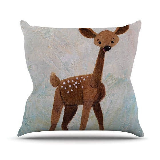 "Rachel Kokko ""Oh Deer"" Outdoor Throw Pillow - KESS InHouse  - 1"