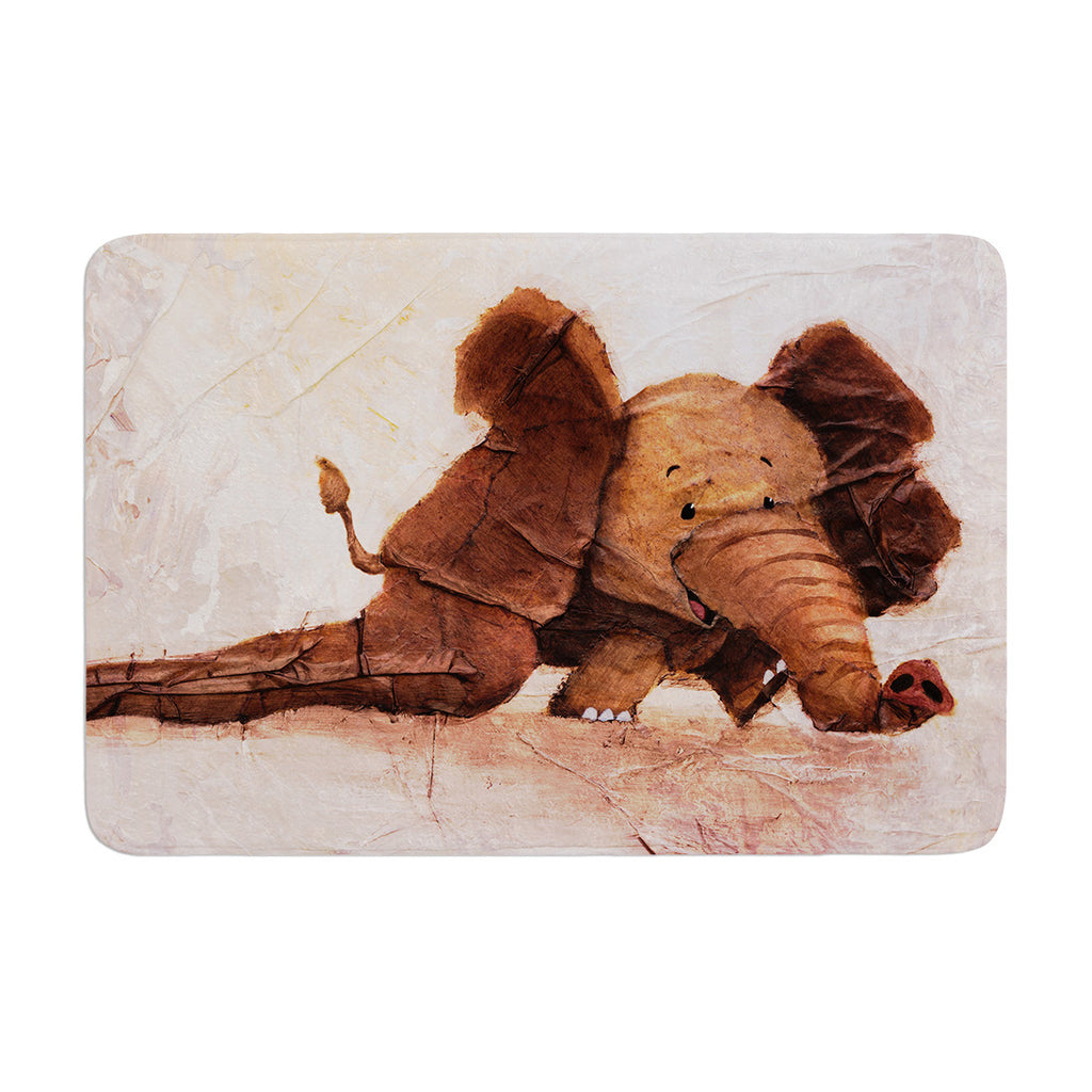 "Rachel Kokko ""The Elephant with the Long Ears"" Memory Foam Bath Mat - KESS InHouse"