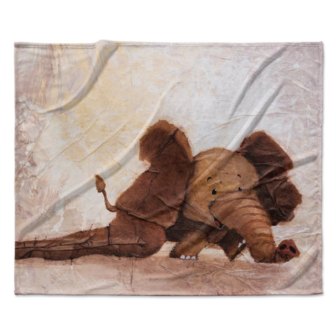 "Rachel Kokko ""The Elephant with the Long Ears"" Fleece Throw Blanket"