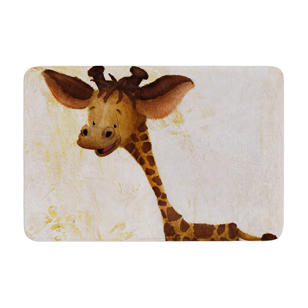 "Rachel Kokko ""Georgey The Giraffe"" Brown Tan Memory Foam Bath Mat - KESS InHouse"