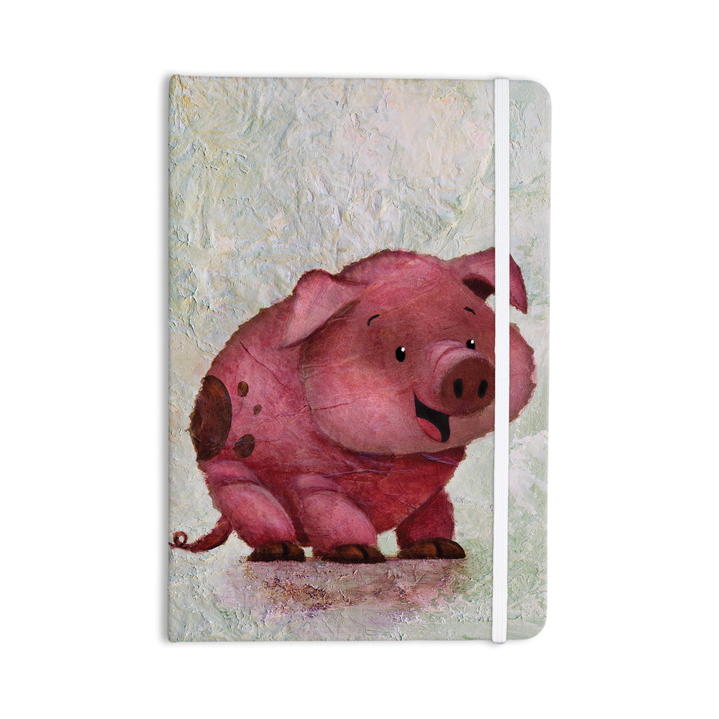 "Rachel Kokko ""This Little Piggy"" Pink White Everything Notebook - KESS InHouse  - 1"