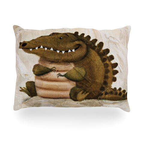 "Rachel Kokko ""Smiley Crocodiley"" Tan Green Oblong Pillow - KESS InHouse"