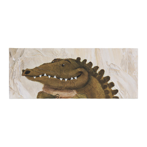 "Rachel Kokko ""Smiley Crocodiley"" Tan Green Bed Runner - KESS InHouse"