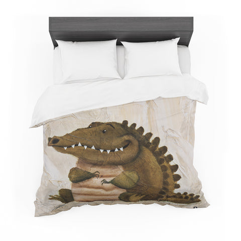 "Rachel Kokko ""Smiley Crocodiley"" Tan Green Featherweight Duvet Cover"