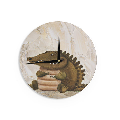 "Rachel Kokko ""Smiley Crocodiley"" Tan Green Wall Clock - KESS InHouse"