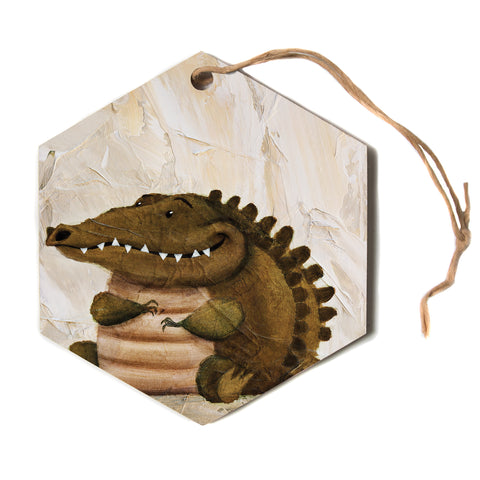 "Rachel Kokko ""Smiley Crocodiley"" Tan Green Hexagon Holiday Ornament"