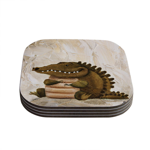 "Rachel Kokko ""Smiley Crocodiley"" Tan Green Coasters (Set of 4)"