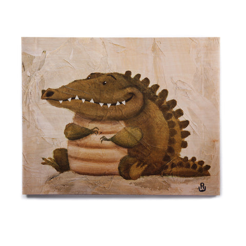 "Rachel Kokko ""Smiley Crocodiley"" Tan Green Birchwood Wall Art - KESS InHouse  - 1"