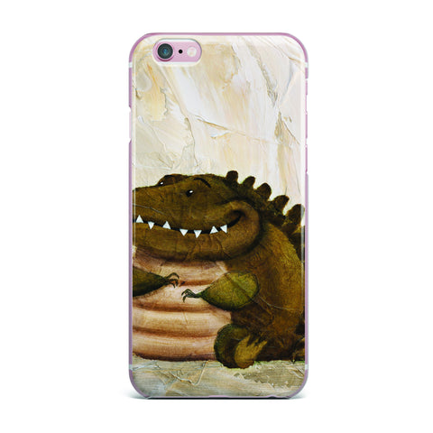 "Rachel Kokko ""Smiley Crocodiley"" Tan Green iPhone Case - KESS InHouse"