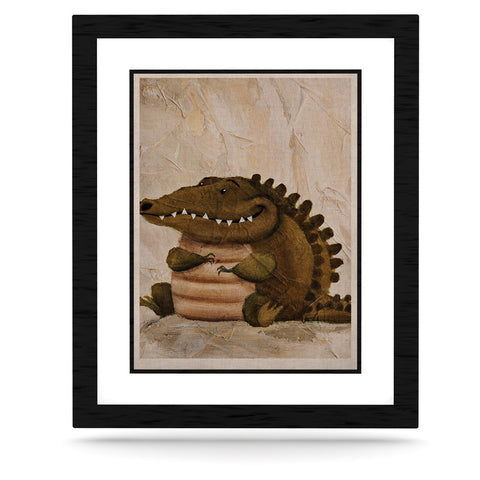 "Rachel Kokko ""Smiley Crocodiley"" Tan Green KESS Naturals Canvas (Frame not Included) - KESS InHouse  - 1"