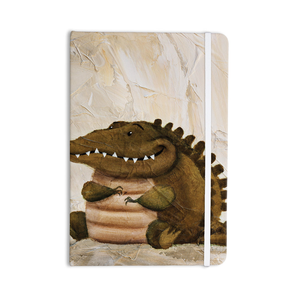 "Rachel Kokko ""Smiley Crocodiley"" Tan Green Everything Notebook - KESS InHouse  - 1"