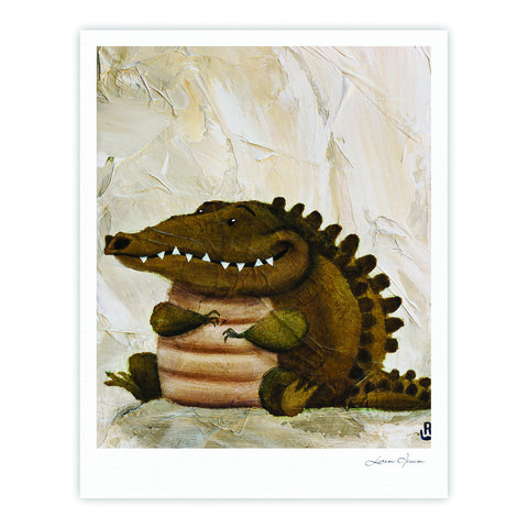 "Rachel Kokko ""Smiley Crocodiley"" Tan Green Fine Art Gallery Print - KESS InHouse"