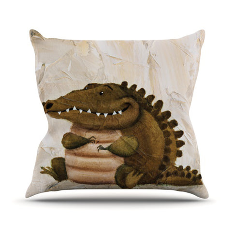 "Rachel Kokko ""Smiley Crocodiley"" Tan Green Throw Pillow - KESS InHouse  - 1"
