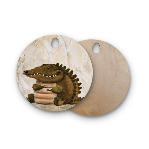 "Rachel Kokko ""Smiley Crocodiley"" Tan Green Round Wooden Cutting Board"