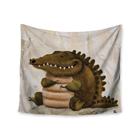 "Rachel Kokko ""Smiley Crocodiley"" Tan Green Wall Tapestry - KESS InHouse  - 1"
