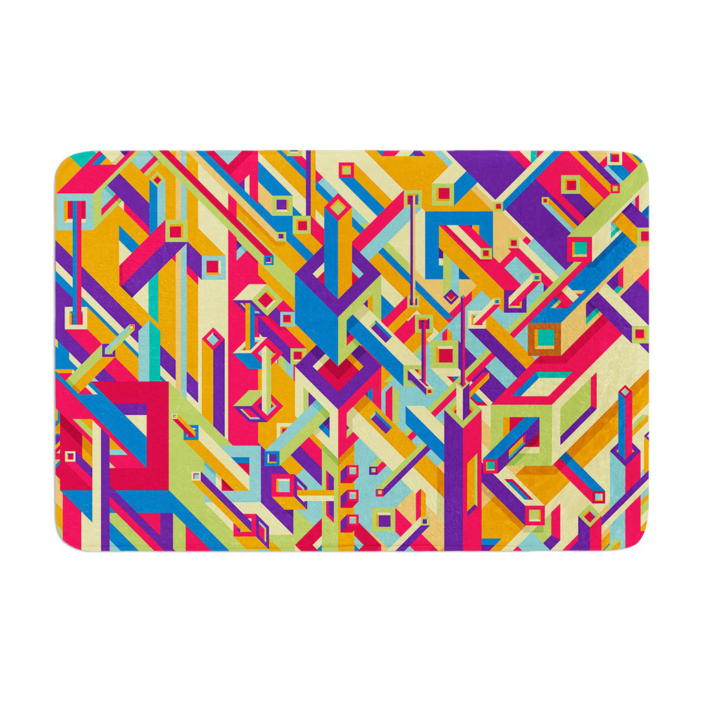 "Roberlan ""Buracos"" Abstract Multicolor Memory Foam Bath Mat - KESS InHouse"