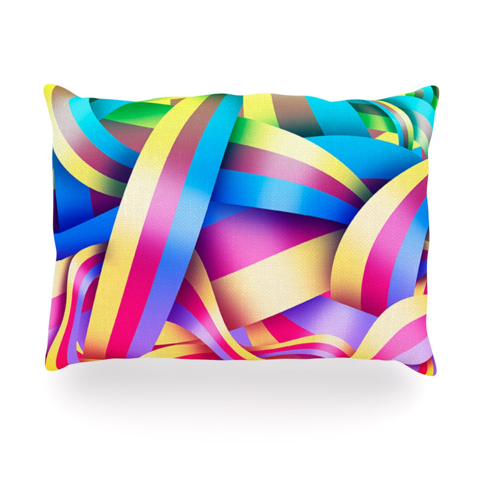 "Roberlan ""Medal"" Rainbow Lines Oblong Pillow - KESS InHouse"