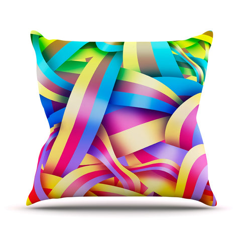 "Roberlan ""Medal"" Rainbow Lines Throw Pillow - Outlet Item - KESS InHouse"