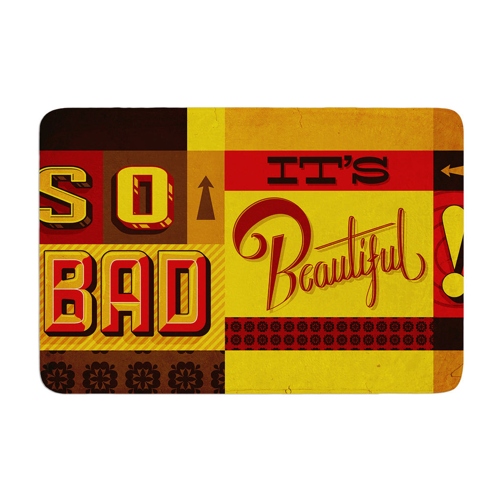 "Roberlan ""So Bad It's Beautiful"" Red Orange Memory Foam Bath Mat - KESS InHouse"