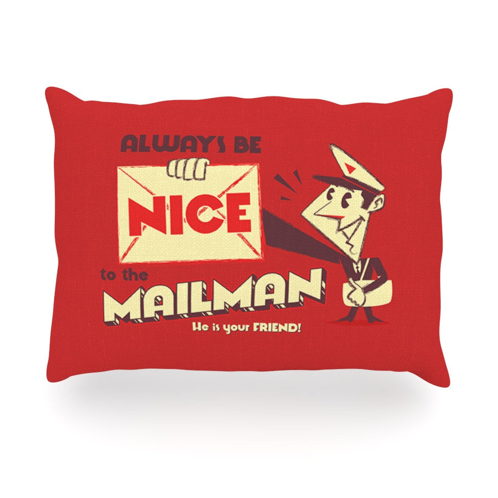 "Roberlan ""Be Nice To The Mailman"" Red Tan Oblong Pillow - KESS InHouse"