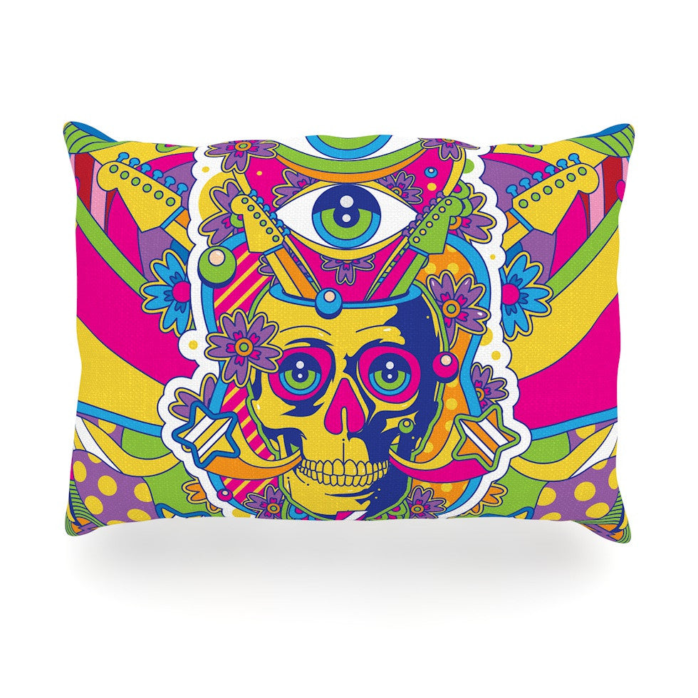 "Roberlan ""Skull"" Rainbow Illustration Oblong Pillow - KESS InHouse"