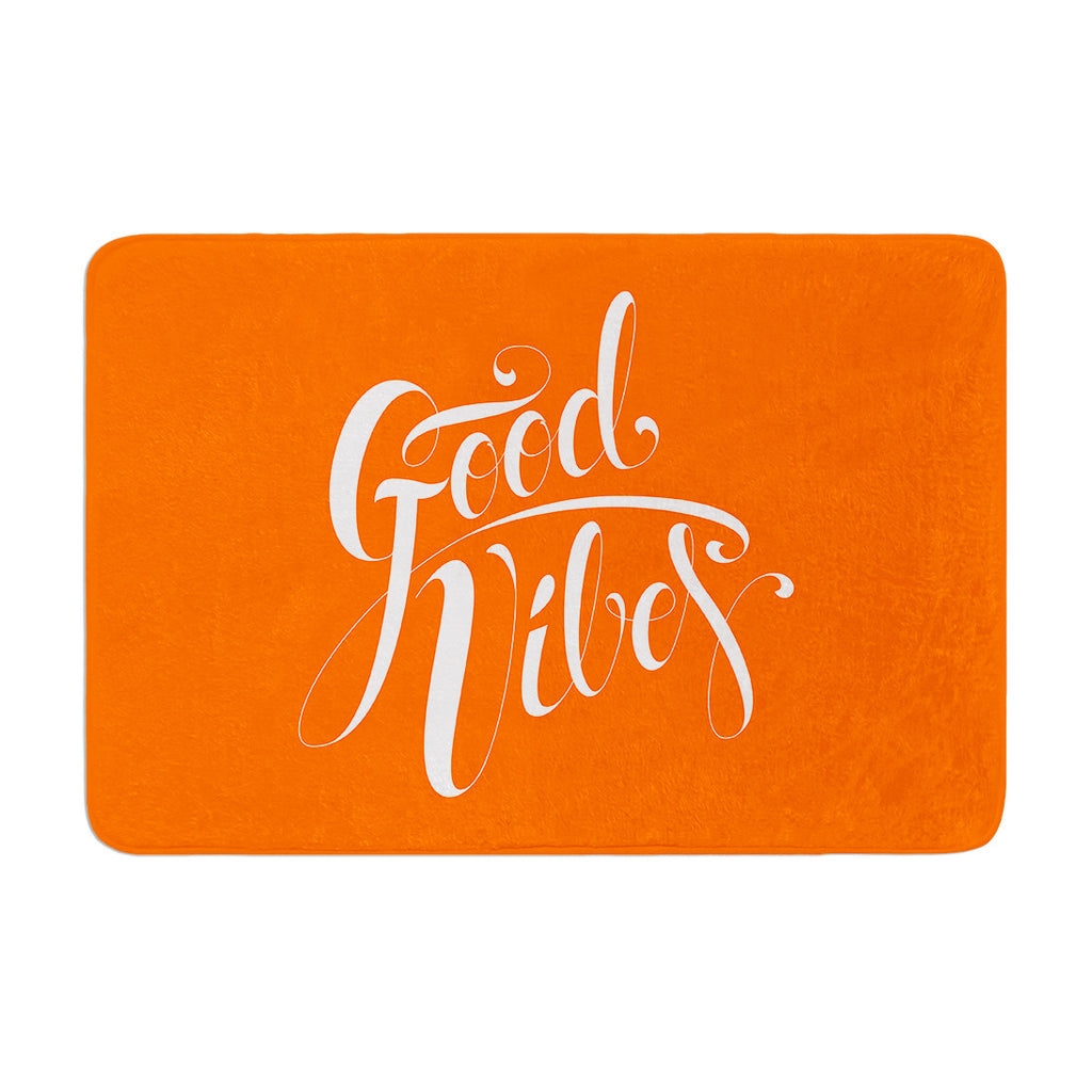 "Roberlan ""Good Vibes"" White Orange Memory Foam Bath Mat - KESS InHouse"