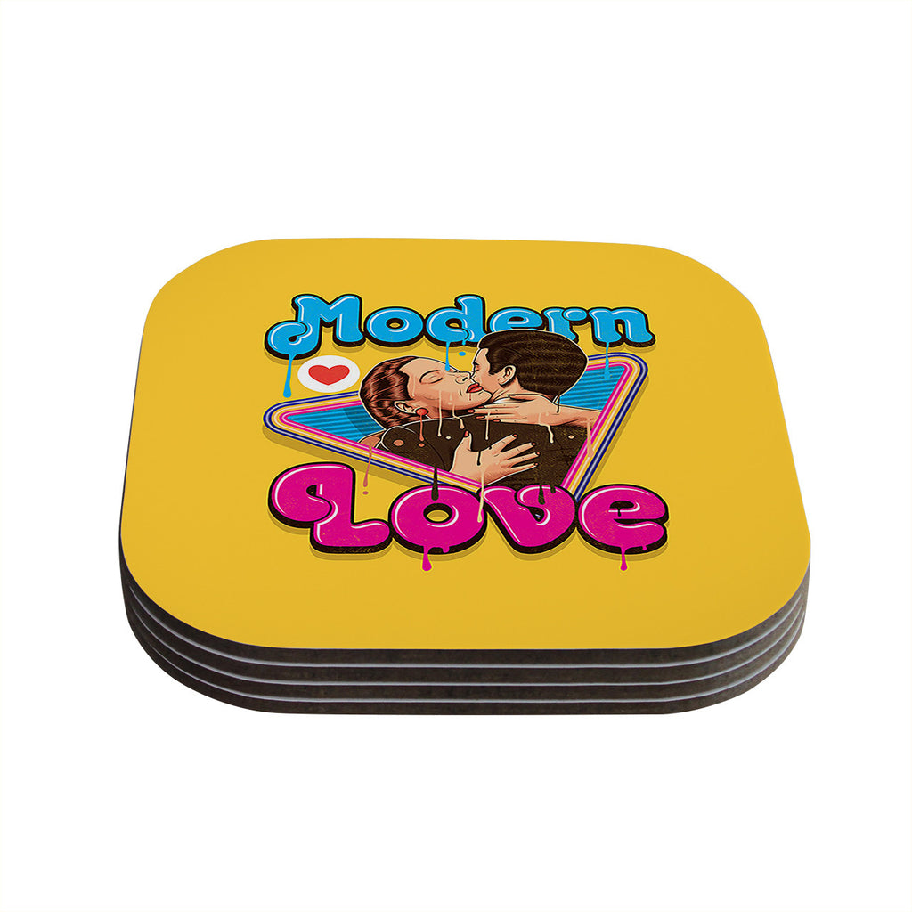 "Roberlan ""Modern Retro Love"" Yellow Neon Coasters (Set of 4)"