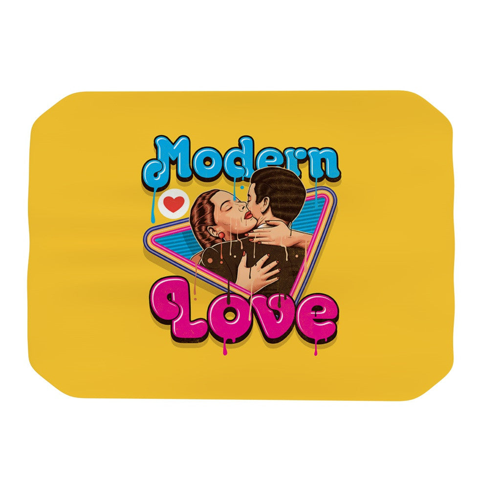 "Roberlan ""Modern Retro Love"" Yellow Neon Place Mat - KESS InHouse"