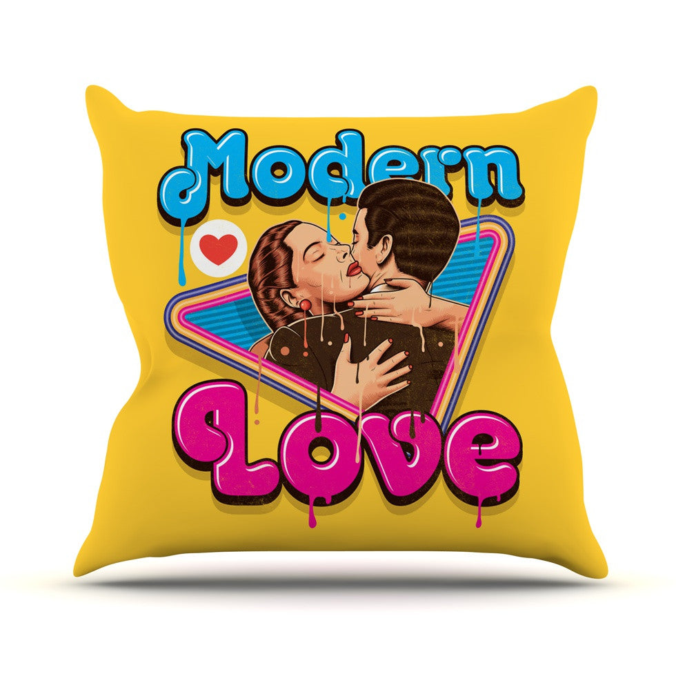 "Roberlan ""Modern Retro Love"" Yellow Neon Throw Pillow - KESS InHouse  - 1"