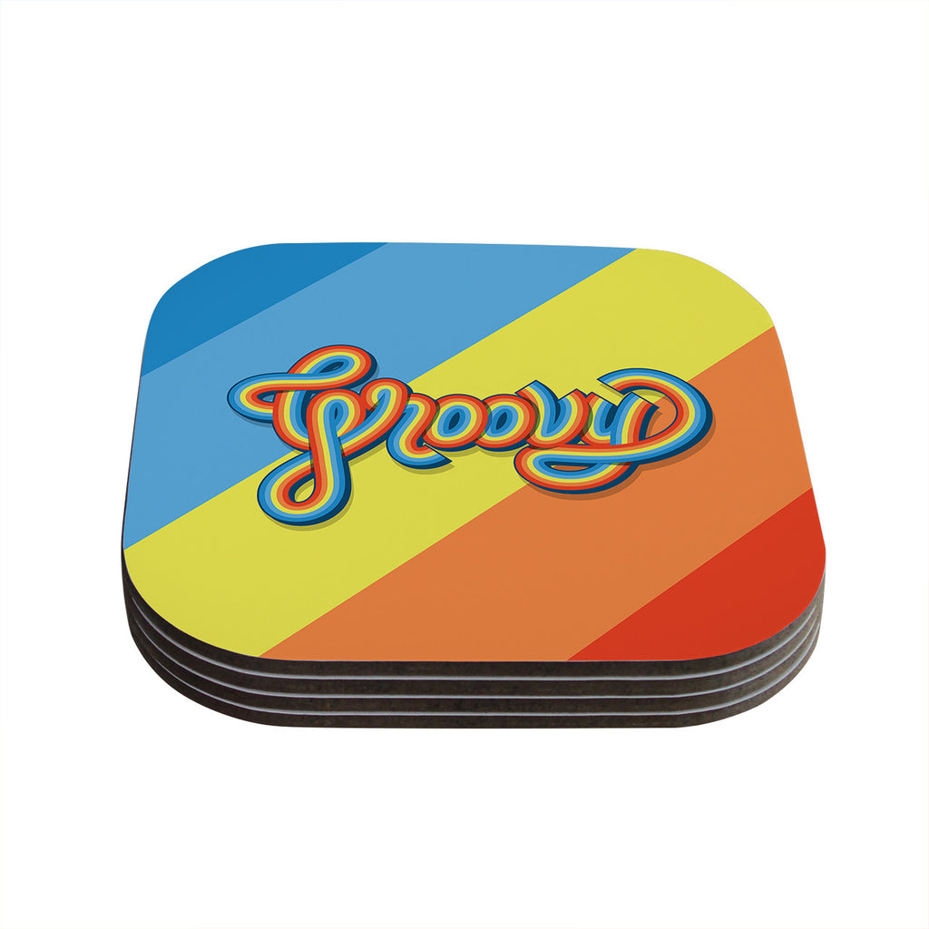 "Roberlan ""Groovy"" Multicolor Typography Coasters (Set of 4)"