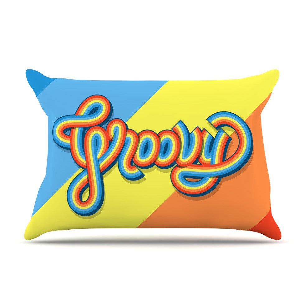 "Roberlan ""Groovy"" Multicolor Typography Pillow Sham - KESS InHouse"