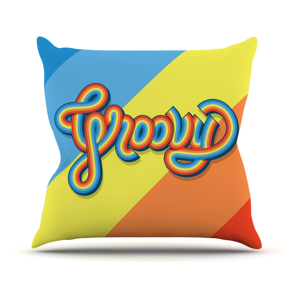 "Roberlan ""Groovy"" Multicolor Typography Outdoor Throw Pillow - KESS InHouse  - 1"