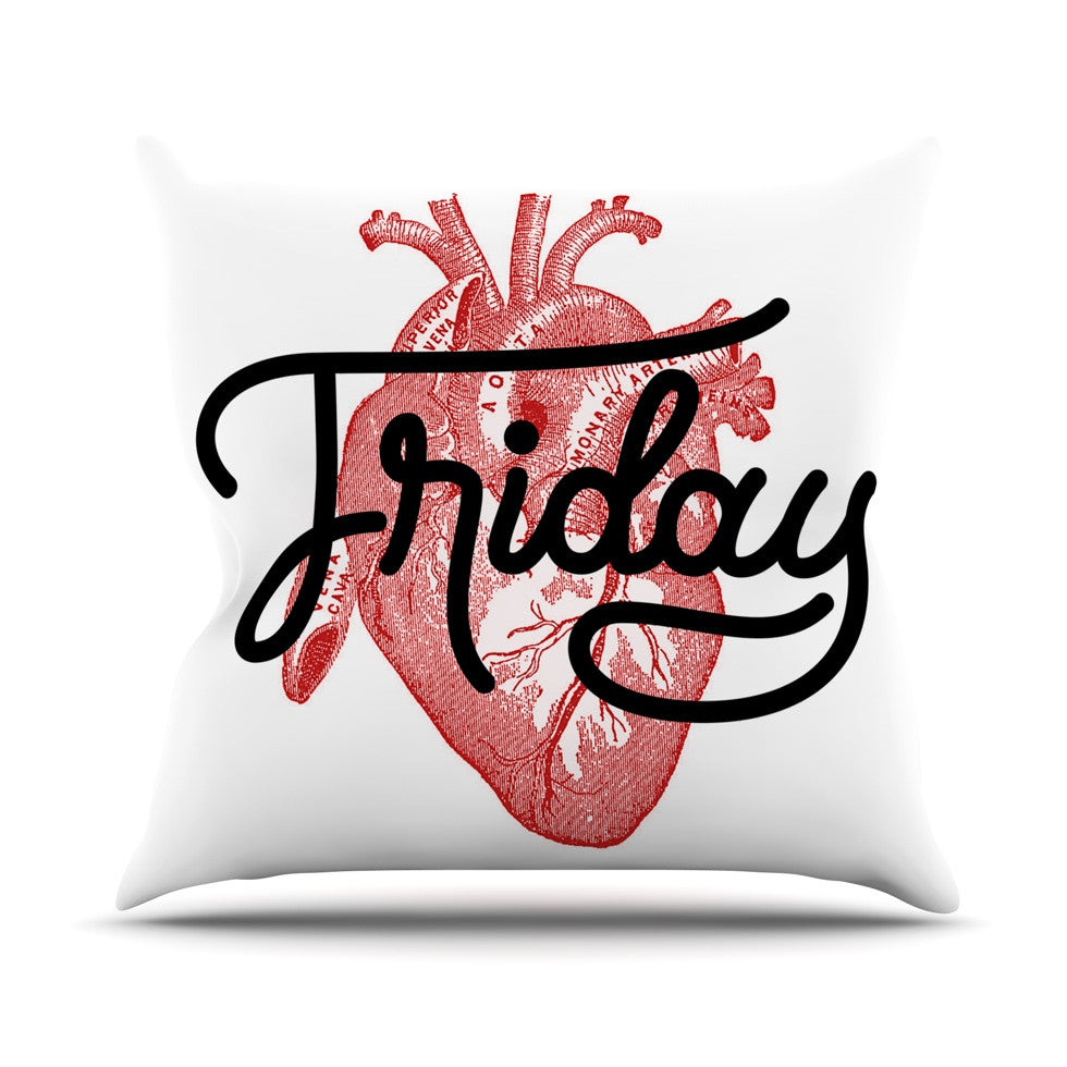 "Roberlan ""Friday"" Red Heart Outdoor Throw Pillow - KESS InHouse  - 1"
