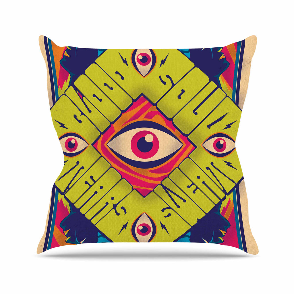 "Roberlan ""Blood Sweat Tears And Soul"" Green Square Outdoor Throw Pillow - KESS InHouse  - 1"