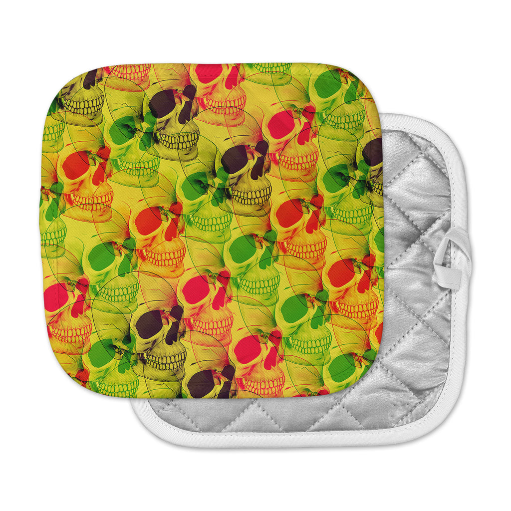 "Roberlan ""Skullfest"" Yellow Green Pot Holder"