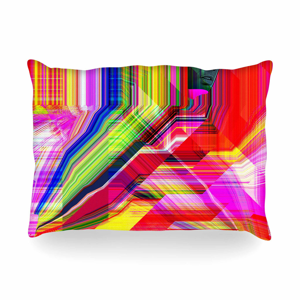 "Roberlan ""Mechancholya"" Red Yellow Abstract Pop Art Oblong Pillow"