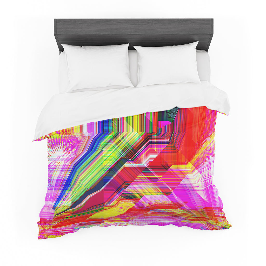 "Roberlan ""Mechancholya"" Red Yellow Abstract Pop Art Featherweight Duvet Cover"