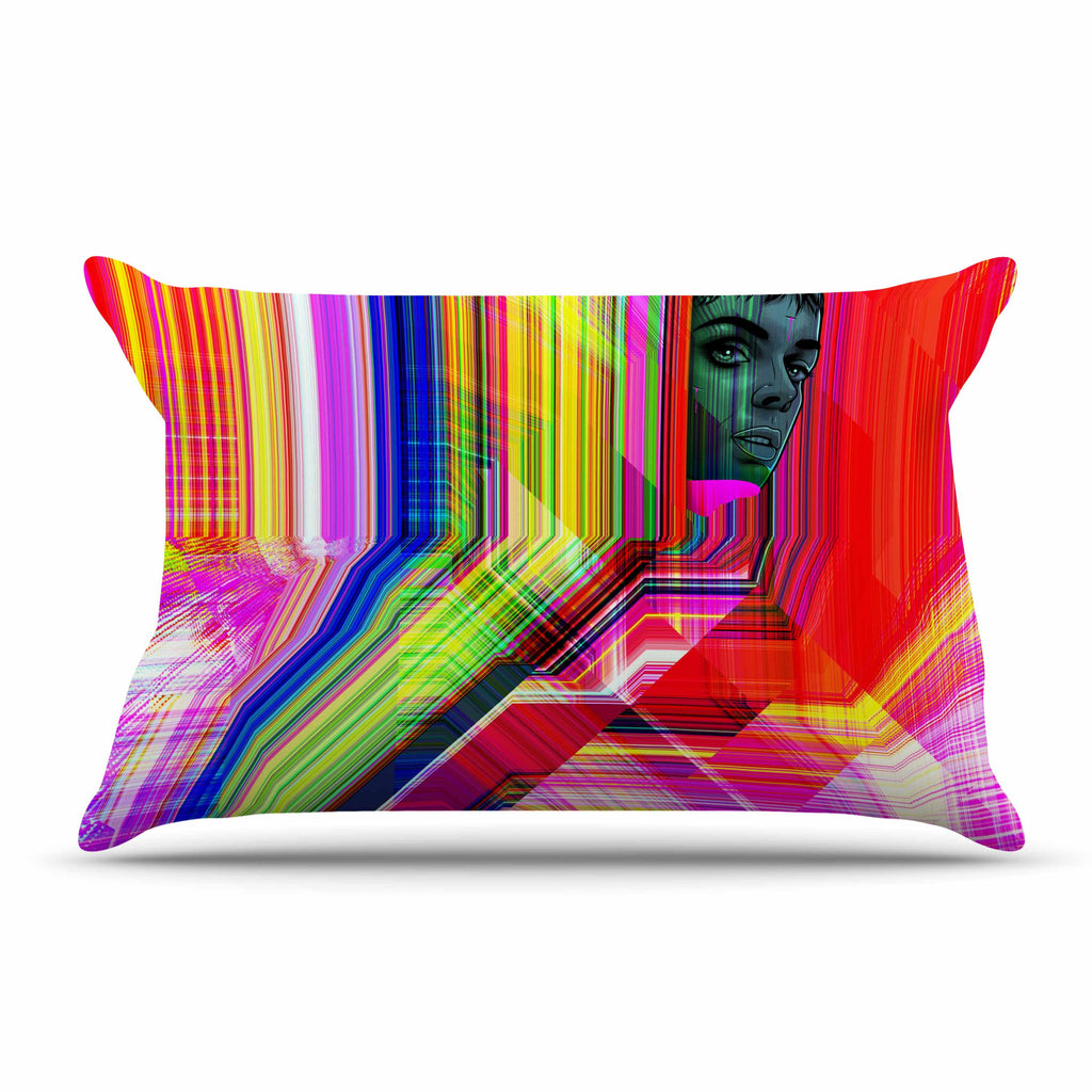"Roberlan ""Mechancholya"" Red Yellow Abstract Pop Art Pillow Sham"