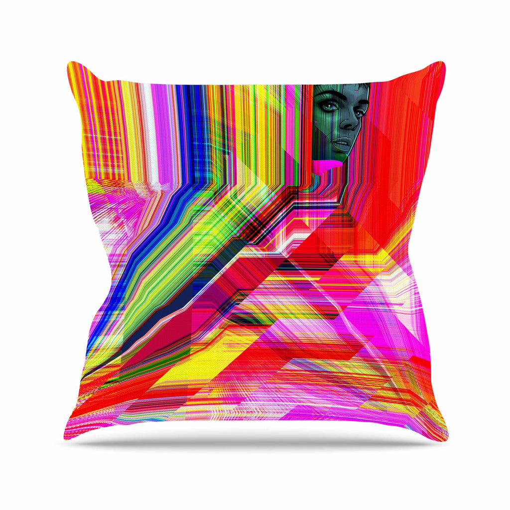 "Roberlan ""Mechancholya"" Red Yellow Abstract Pop Art Throw Pillow"