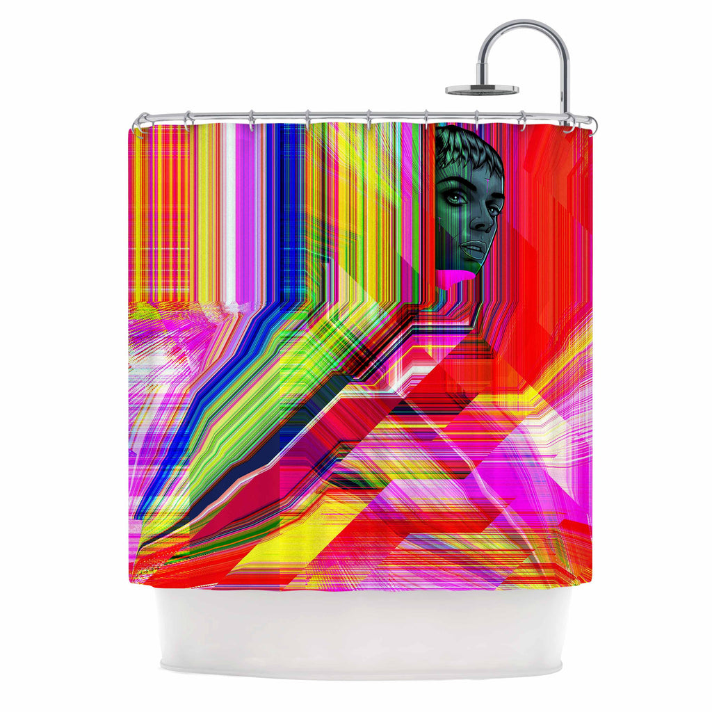"Roberlan ""Mechancholya"" Red Yellow Abstract Pop Art Shower Curtain"