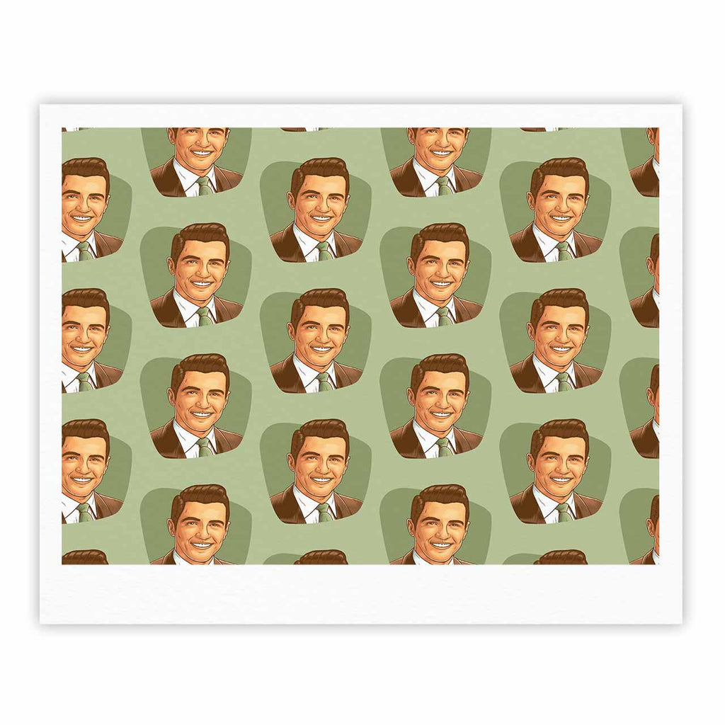 "Roberlan ""Retro Happy Fancy Dude"" Green Brown Vintage Pattern Fine Art Gallery Print"