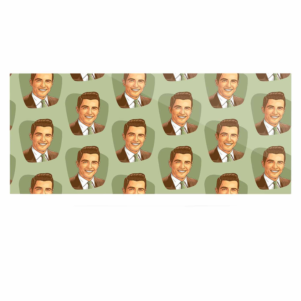 "Roberlan ""Retro Happy Fancy Dude"" Green Brown Vintage Pattern Luxe Rectangle Panel"