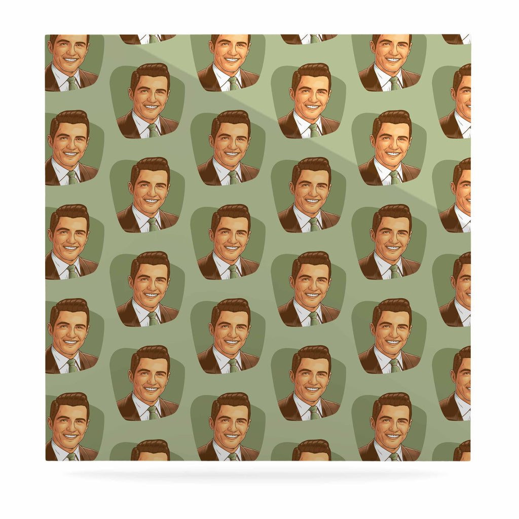 "Roberlan ""Retro Happy Fancy Dude"" Green Brown Vintage Pattern Luxe Square Panel"