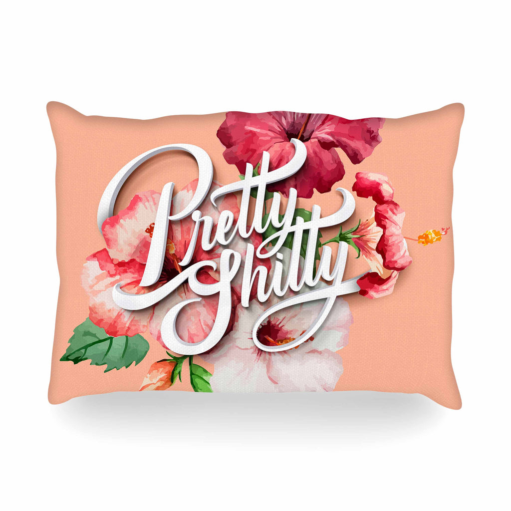 "Roberlan ""Pretty..."" Beige White Vintage Typography Oblong Pillow"