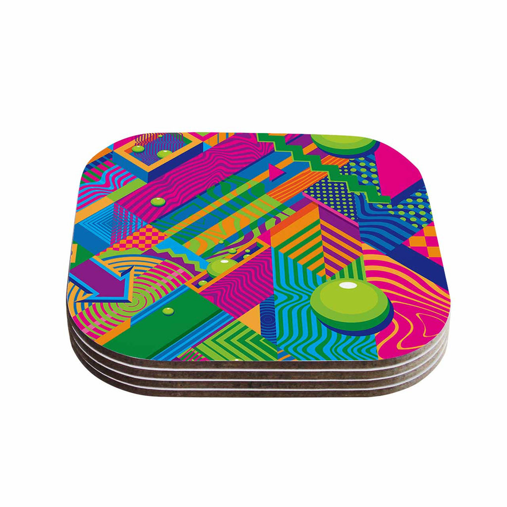 "Roberlan ""The Fountain"" Pink Green Abstract Pop Art Coasters (Set of 4)"