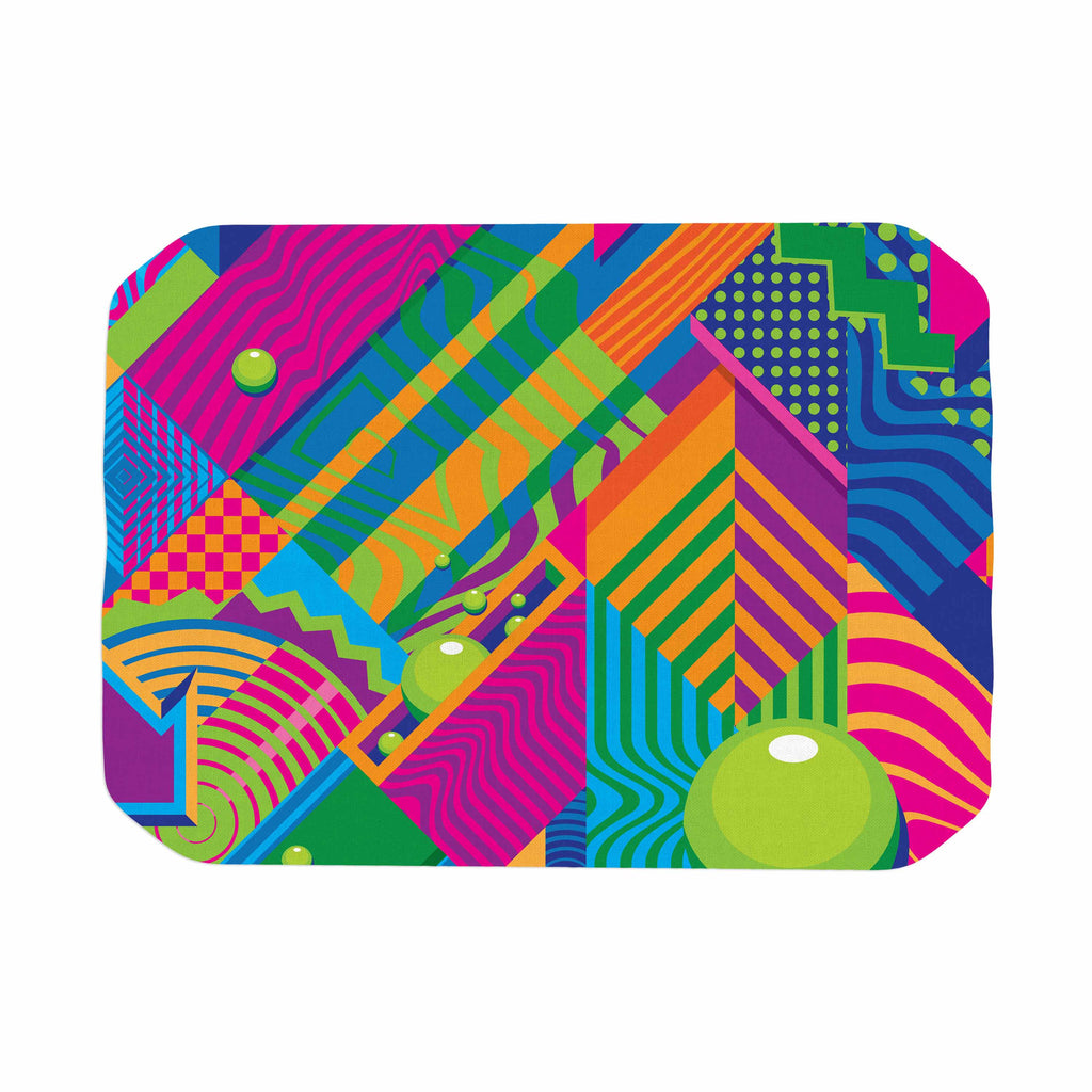 "Roberlan ""The Fountain"" Pink Green Abstract Pop Art Place Mat"