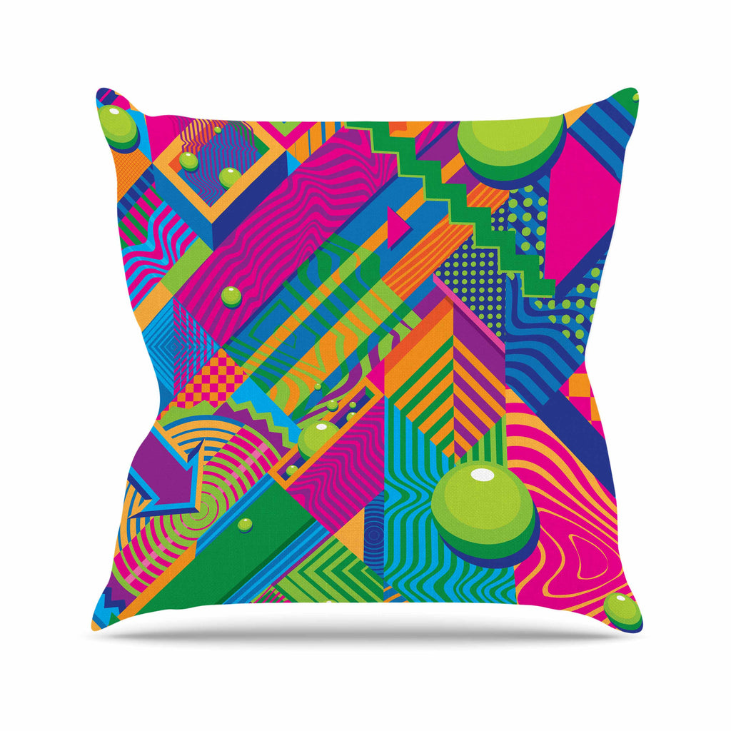 "Roberlan ""The Fountain"" Pink Green Abstract Pop Art Outdoor Throw Pillow"