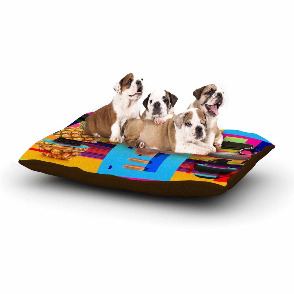 "Roberlan ""Triptic"" Blue Pink Abstract Pop Art Dog Bed"
